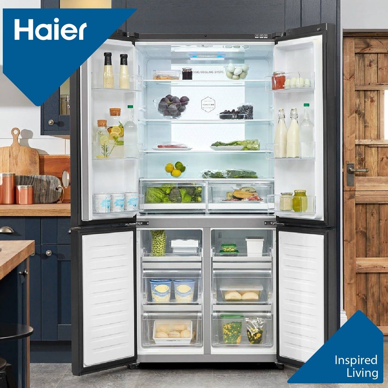 Store more & shop less often The Haier 4 Doors refrigerator offers more visibility, its side by side doors allow you to make the most of your space! Available in Black and Stainless Steel! 😍
